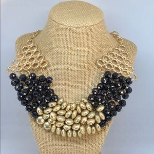 Beautiful Gold and Black Beaded Necklace. New